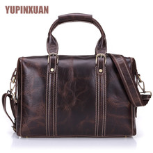 YUPINXUAN Europe Fashion Cow Leather Travel Bags for Men 15″ Laptop Messenger Bag Large Capacity Handbags Real Leather Hand Bag