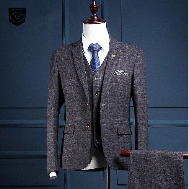 133ce72c7eef03 Custom Brand Fashion Men's Suits Dark Grey Plaid Style Blazers Suit Slim  Fit Wedding Prom Male
