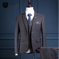 Custom Brand Fashion Men S Suits Dark Grey Plaid Style Blazers Suit Slim Fit Wedding Prom