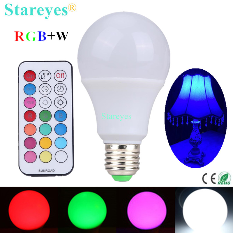 1 Piece E27 10W RGBW LED Bulb Dimmable ball Light RGB W LED desk Lamp downlight droplight lighting with Remote Controller 3w e27 1 led rgb light bulb with remote controller 1x cr2025