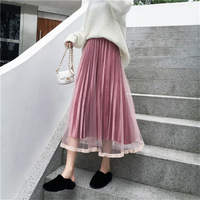 Fashion Blue Pink Women mesh Skirts Japan Style Casual High Waist Pleated A Line Mid Calf Skirt All match Clothing faldas mujer