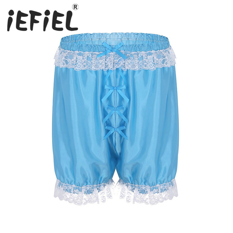 iEFiEL Mens Fashion Sissy Lingerie Classic Lace Soft Shorts Bloomers Lightweight Loose Lounge Shorts Jogger Short Pants Trousers