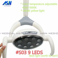 High Quality 9 LEDs dental lamp with Sensor Oral Light Lamp color temperature adjustable Dental Unit Chair implant surgery lamp