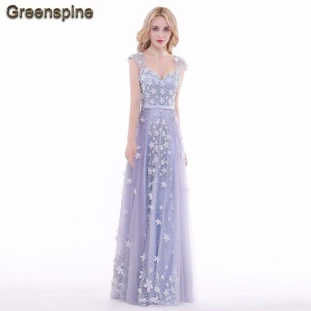 8f4163bfd934 Greenspine Real Photo Elegante Abiti Lunghi Da Sera Con Bella Fiori e di  Perle di Lusso