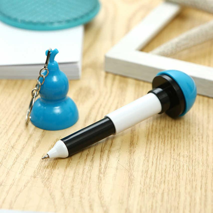 Bolígrafo escalable con forma de calabaza creativa con llavero material plástico de papelería escolar suministros para la escuela regalo para niños