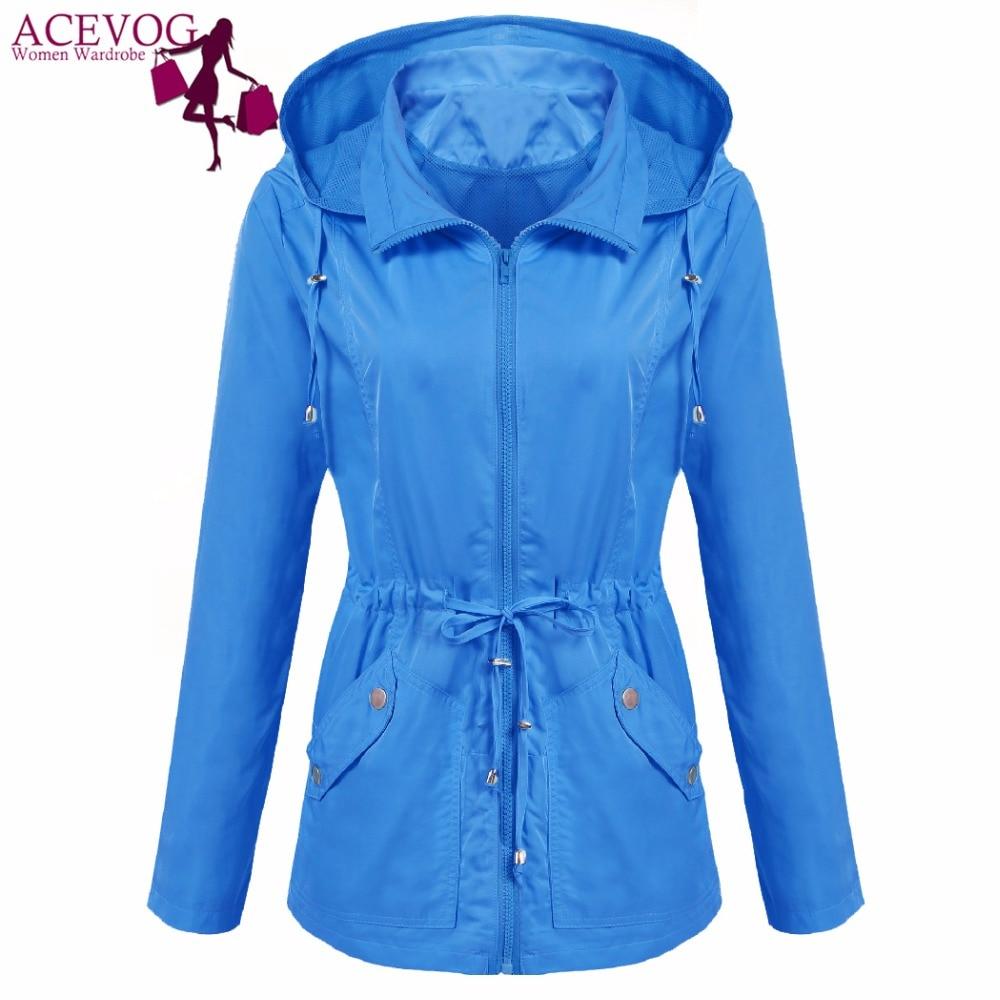 ACEVOG Women Hooded Jacket Windbreaker Casaco Autumn Winter Outwear Streetwear Solid Drawstring Lightweight Waterproof Coat