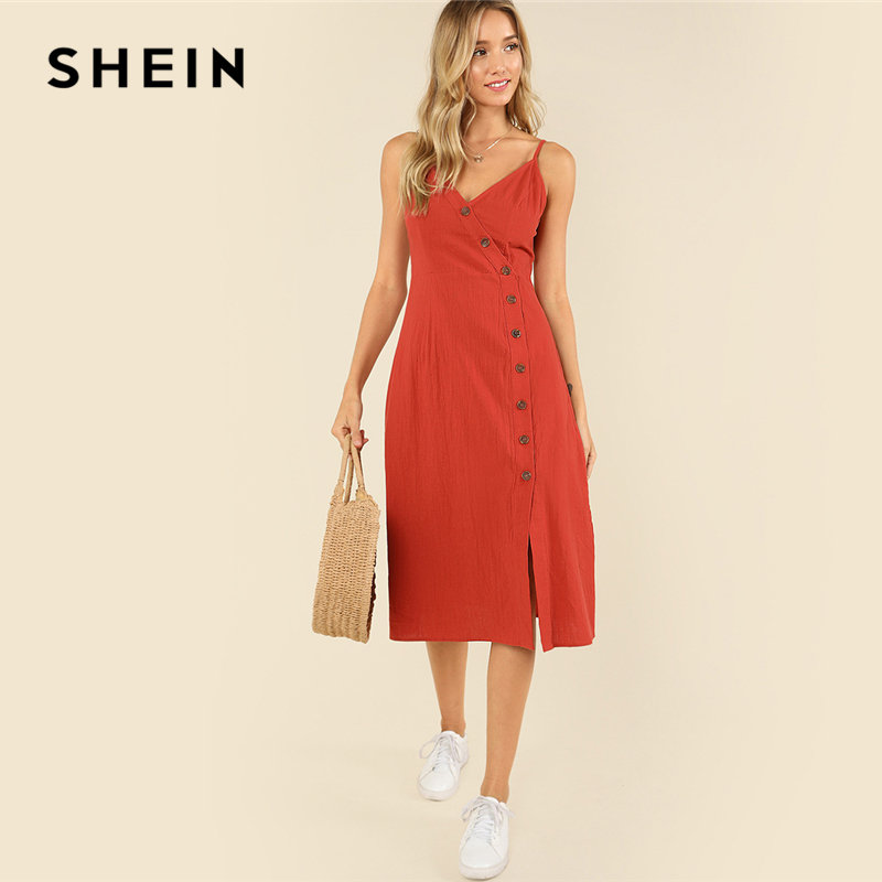 SHEIN Rust Weekend Casual Backless Spaghetti Strap Sleeveless Buttoned Wrap Front Cami Summer Solid Long Dress For Women