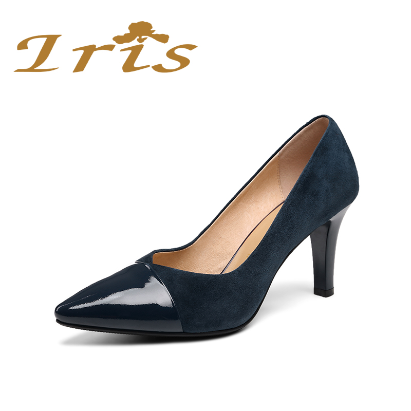 IRIS New Design Navy Blue Dress Pumps High Heels Geniune Leather Pointed  Toe Women Shoes Simple Classic Zapato Plano Mujer - Womens Navy Blue Dress Shoes Promotion-Shop For Promotional Womens
