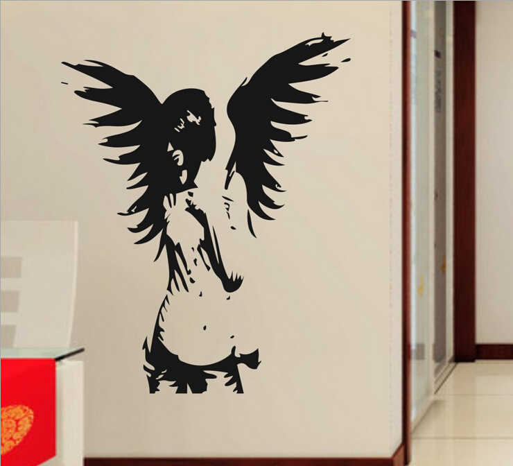 Beautiful angel wings living room vinyl carving wall decal - Beautiful wall stickers for living room ...
