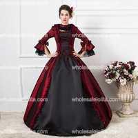 18th century gorąca sprzedaż burgundia i czarny balu togi dress red belle balu togi/maria antonina prom dress