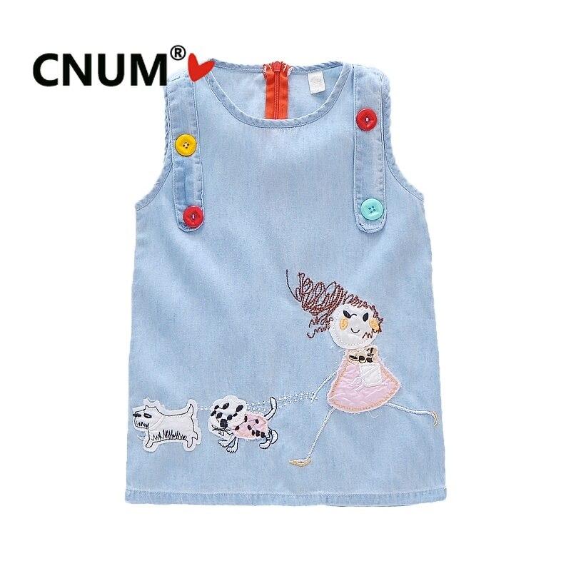 5dc5c28471c1589 CNUM/праздничные платья принцессы без рукавов для девочек 2-6 лет,  джинсовые платья