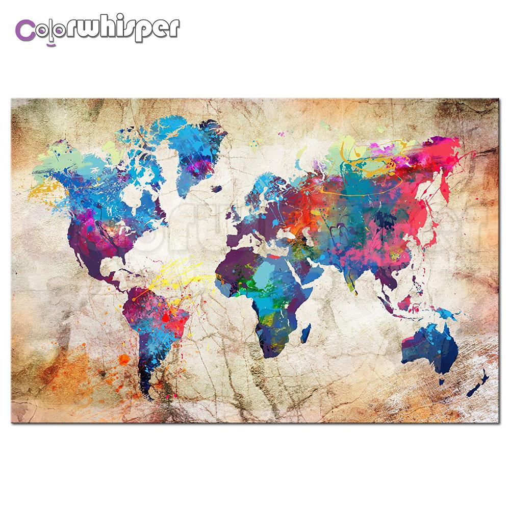 Elmas Boyama 5d Tam Kareyuvarlak Dünya Haritası Boyama