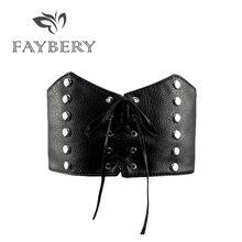 2018 Punk Stylish Wide Black Leather Belts for Women Elastic Waist Belt Rivet Decoration Women Waistband for Jeans Fashion Lady stylish vivid big flower shape embellished elastic waistband for women