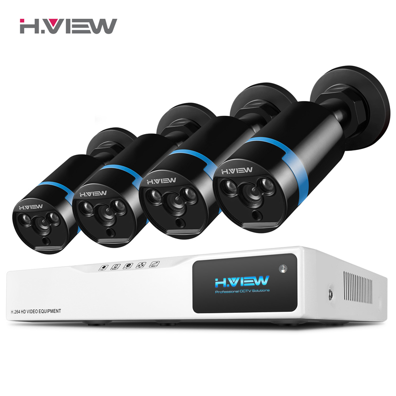 H.VIEW Security Camera System 8ch CCTV System 4 1080P CCTV Camera 2.0MP Camera Surveillance Kit 8ch DVR 1080P HDMI Video Output