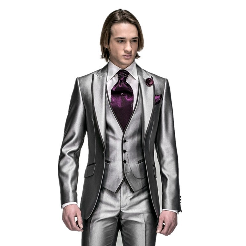 2016 por encargo de plata gris claro smokinges del novio mejor boda del juego del hombre