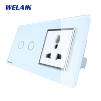 WELAIK 2 Frame 2Gang1Way Multifunct Socket Crystal Glass Panel Wall Switch EU Touch Switch Screen AC110