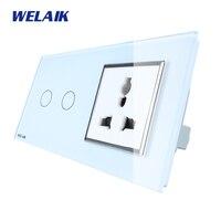 WELAIK 2 Frame 2Gang1Way Multifunct Socket Crystal Glass Panel Wall Switch EU Touch Switch Screen AC110