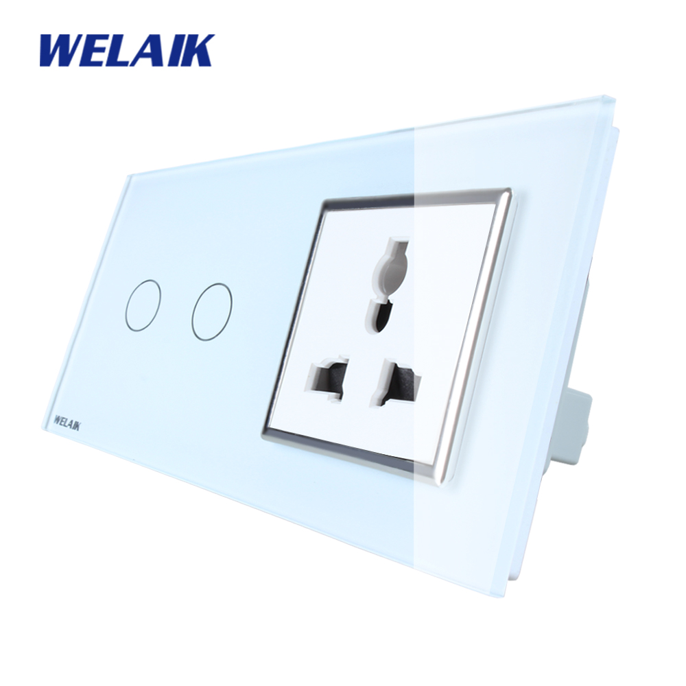 WELAIK Brand 2Frame Multifunct socket Crystal Glass Panel  Wall Switch EU Touch Switch Screen AC110~250V 2Gang1Way A29218MUCW/B welaik glass panel switch white wall switch eu remote control touch switch screen light switch 1gang2way ac110 250v a1914w br01