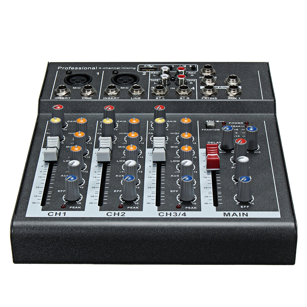 LEORY Karaoke Mixer Professional 4 Channel Studio Audio Mixing Console Amplifier Digital Mini Microphone Sound Mixer Sound Card audio mixer cms1600 3 cms compact mixing system professional live mixer with concert sound performance digital 24 48 bit effects