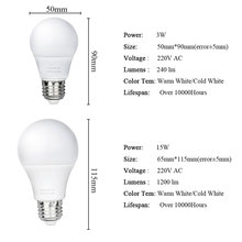 1PCS LED Lamp E27 Bulb Lights 220V 240V Smart IC Real Power 3W 5W 7W 9W 12W 15W Lampadas No Flicker Indoor Led Lighting Bulbs