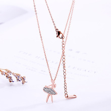 Fashion Rose Gold/Silver Plated  Dancing Ballerina Dancer Ballet Pendant Necklace Charm Girls Christmas Valentine's Gift tiny skull necklace dainty layering delicate charm gold rose gold or silver plated mini skull pendant