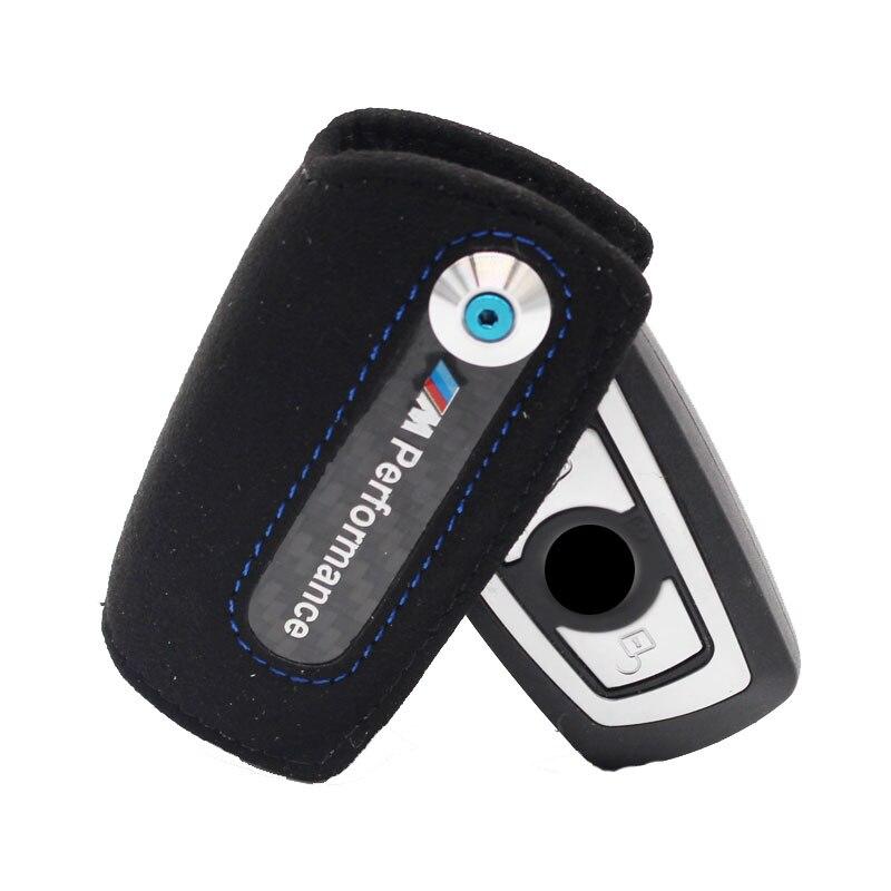 Icecare En Fiber De Carbone Cas Clé Porte-Clé Couverture En Cuir///M Emblème Clé Cas Pour Bmw F10 F30 F20 5 Série X4 X5 X6 Pour BMW Key Case