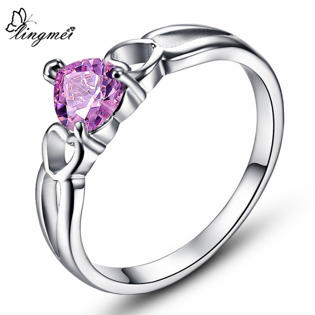 lingmei Love Style Dazzling Fashion Heart Cut Gold Rainbow White Pink Cubic Zirc