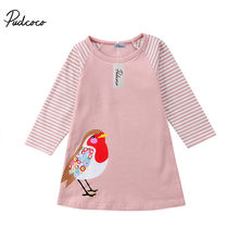 PUDCOCO Newest Kid Baby Girls Long Sleeve Printing Bird Party Pageant Wedding Dress Cute Pop Autumn Clothes 1-7T(China)