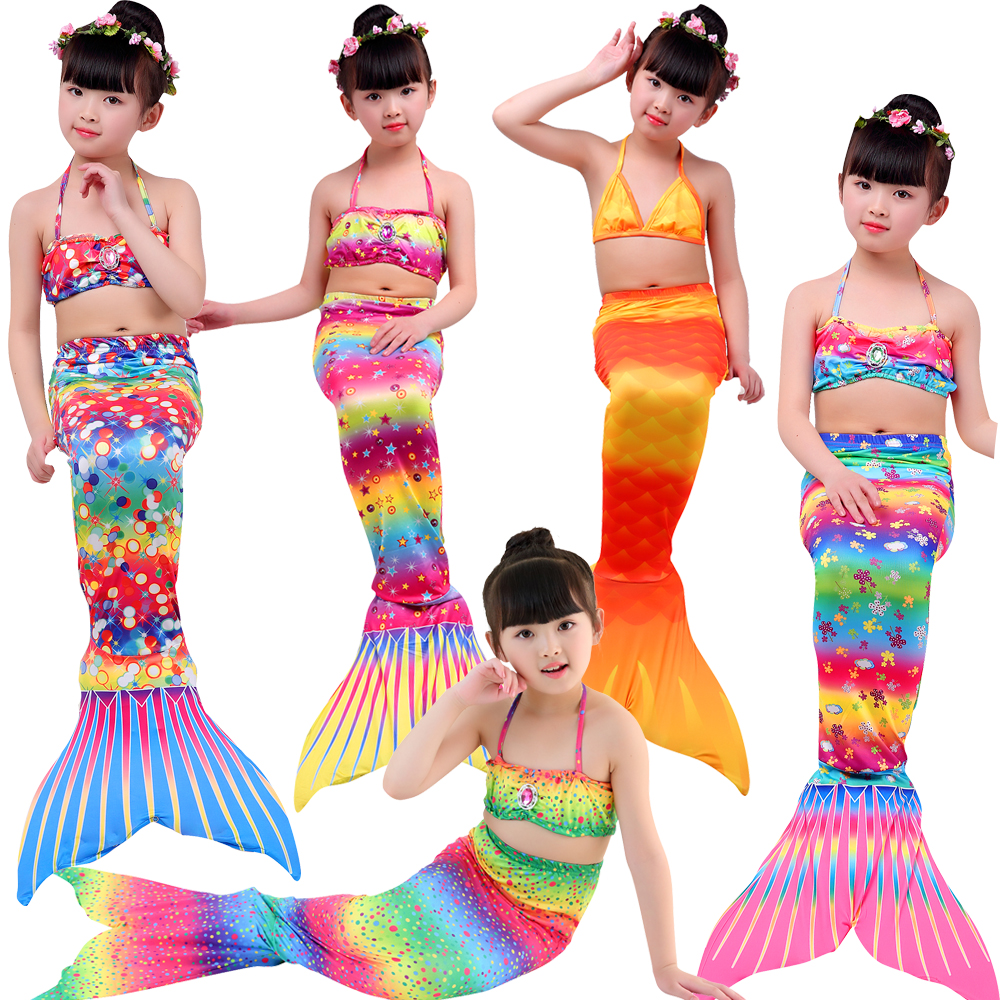 4Pcs/set Baby Girls Mermaid Tail Dress Whit Monofin Mermaid Tail Cosplay Costume Swimsuit Mermaid Costume Cloth Tail Flipper