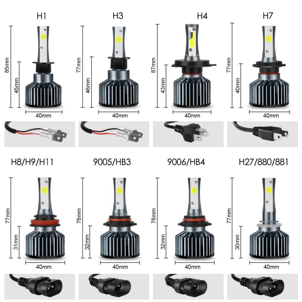 XSTORM H4 H7 LED H1 H3 H8 H11 HB4 9006 HB3 9005 H27 COB Car Led Headlight Bulbs 72W 8000LM 6000K DC12V 24V Auto Lights Headlamp