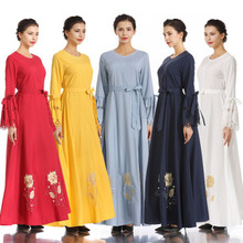 Women Muslim Embroidered Print Slim Elastic Waist Silk Dress Long Dress