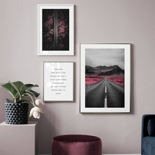 Mountain Road Forest Bridge Tree Quotes Nordic Posters And Prints Wall Art Canvas painting Pictures For living room Decor