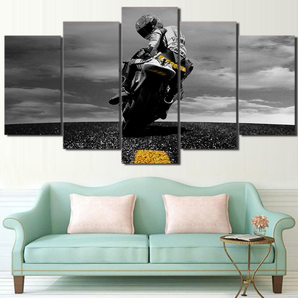 5 Piece Canvas Valentino Rossi Moto Poster HD Printed Wall