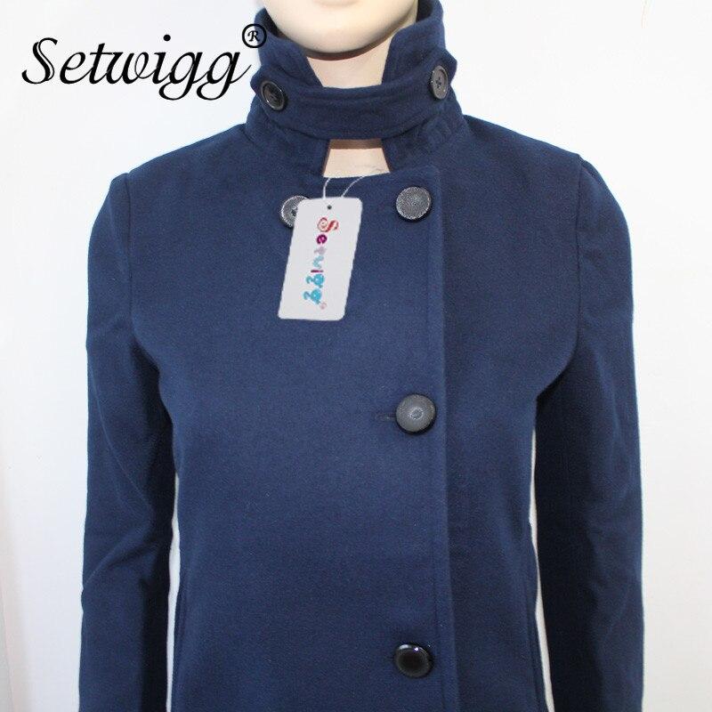 Setwigg женщин зимние пальто твердые имитация шерстяные смесь стоять воротник однобортный длинный верхняя одежда пальто