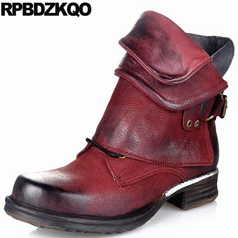 Fall Chunky Plus Size Sheepskin Women Ankle Boots 2016 Round Toe Flat Designer Wine Red Autumn Genuine Leather Shoes Big Metal