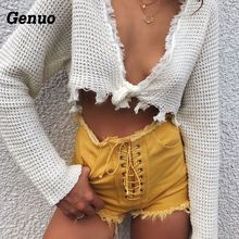 купить Genuo Bandage Lace Up Sexy Short Jeans Women Ripped Denim Stretch Shorts 2018 Summer High Waist Frayed Shorts Tassel Beach Jean по цене 805.26 рублей