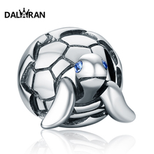 DALARAN 925 Sterling Silver Sea Turtle Charm Beads Fit Bracelets Original Animal Clear CZ Bead DIY Jewelry