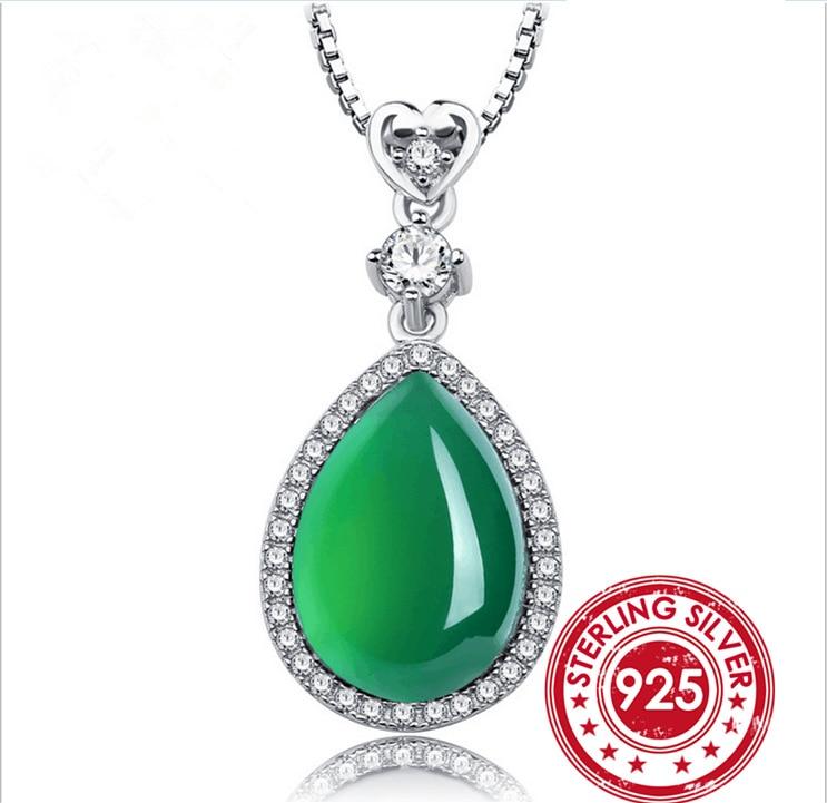 SNH UniqueGreen smaragd medál nyaklánc valódi 925 ezüst Jade - Finom ékszerek