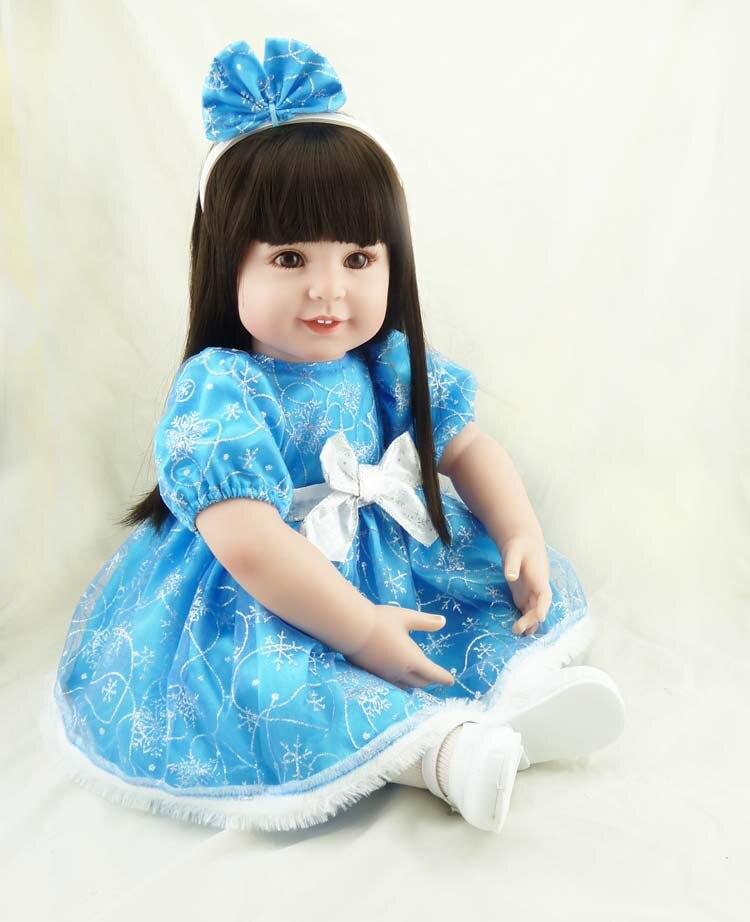 Кукольный домик 22inch55cm Популярные blue ice принцесса моделирование девочка с длинными волосами хлопок тело силиконовые куклы для новорожденны...