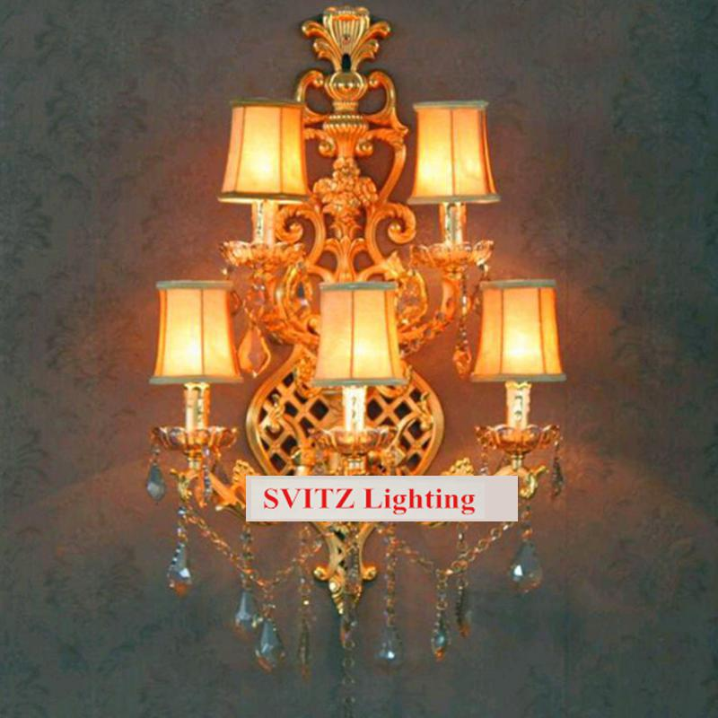 5-arm Large fabric shade gold wall Sconce abajur Retro vintage crystal wall light for foyer hotel villa traditional wall lamps