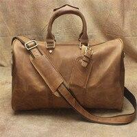 Мужская портативная кожаная дорожная сумка Crazy Horse кожаная сумка мужская 22 дюймов кожаная сумка ручной работы