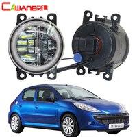 Cawanerl Car 4000LM H11 LED Lamp Front Fog Light + Angel Eye Daytime Running Light DRL 12V For Peugeot 206+ 2009 2012