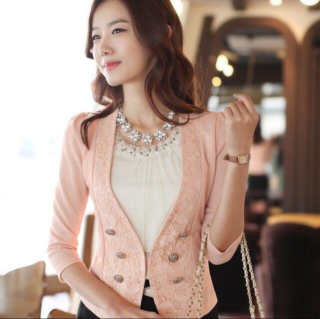 2013 Women Blazers Lace Decorated Blazer New Fashion Three Quarter Sleeve Coat h342
