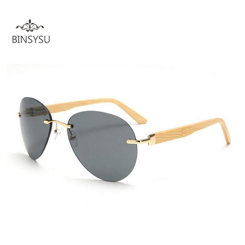 Nové bambusové brýle Rimless Pánské ženy Dřevěné sluneční - Příslušenství pro oděvy