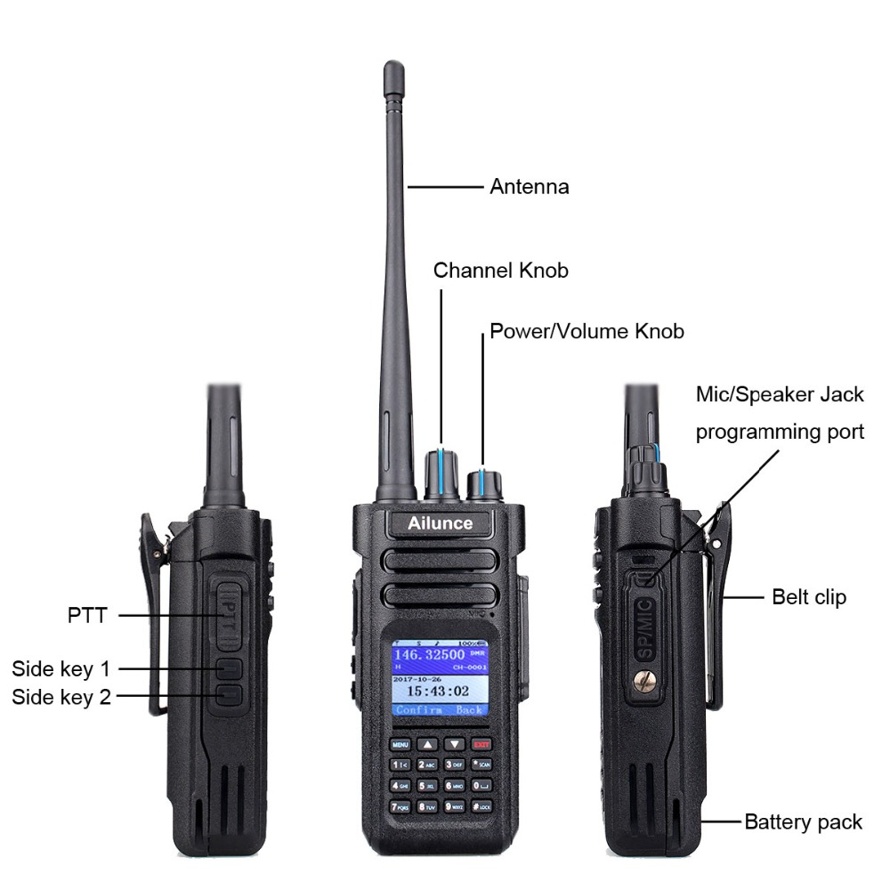 Retevis Ailunce HD1 Walkie Talkie Dual Band DMR Digital DCDM TDMA VHF UHF 2pcs Ham Radio Transceiver + Program Cable
