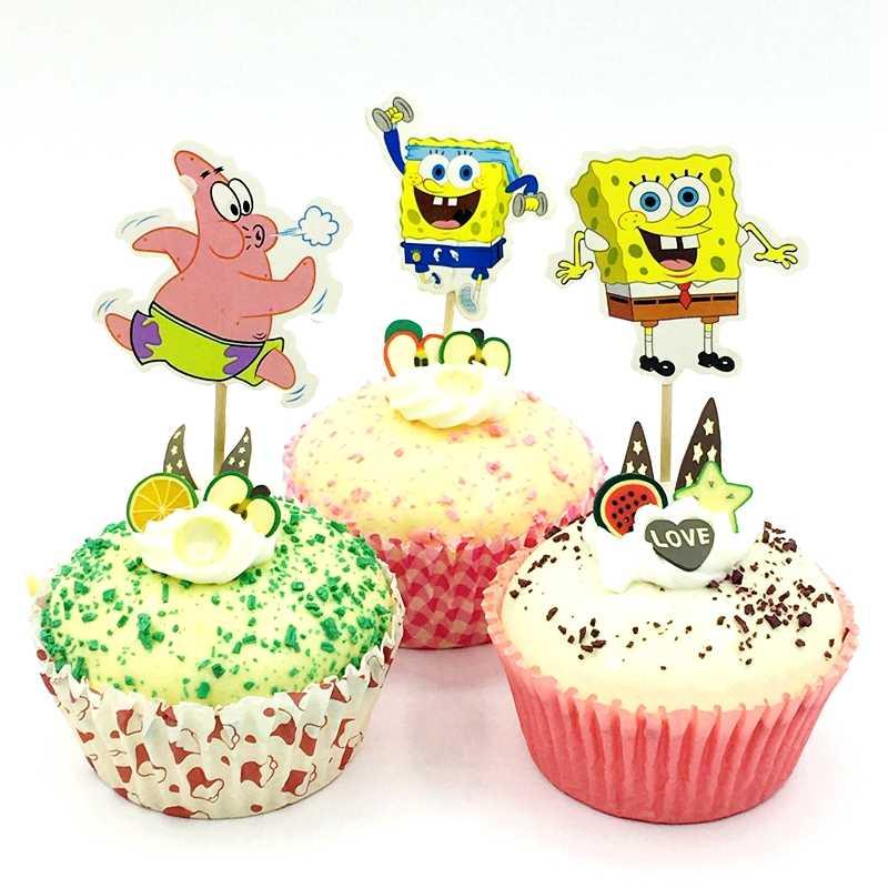 24 pcs Spongebob Squarepants Theme Bánh Toppers Sinh Nhật Đảng Trang Trí Bé Tắm Trẻ Em Ủng Hộ Cupcake Topper Các Sự Kiện Cung Cấp