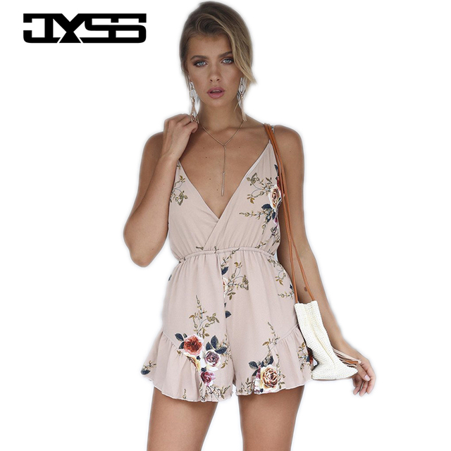 90559f43bf3 new hot sling V-neck prints playsuits with lotus leaf flower pattern summer  sexy jumpsuits 81012