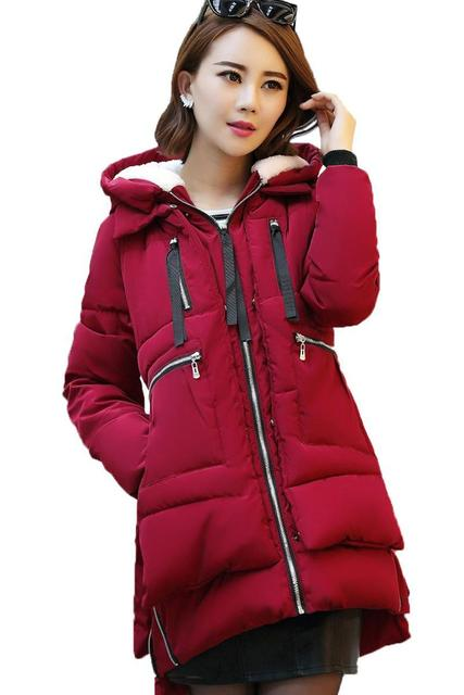 Women parka thick 2016 wadded jacket female winter jacket women outerwear slim jackets medium-long down cotton parkas red coats