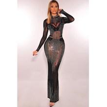 Glitter Rhinestones Sexy See Through Long Dress Women Fashion Sleeve Birthday Elegant Party