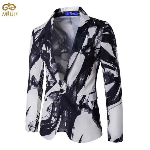 2017 Gran Tamaño de Impresión 3D Estilo Nacional Chaqueta de Los Hombres Marca de ropa XXXL Alta Calidad Fiesta Hombres Blazer Slim Fit Blazer Masculino